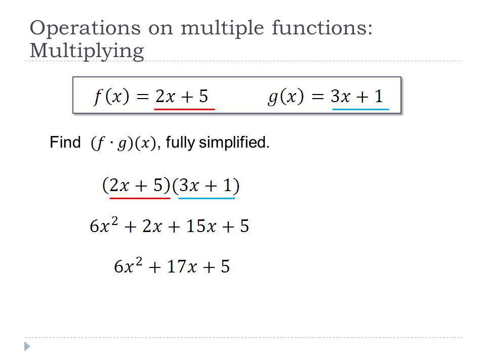 Operations on multiple functions: Multiplying