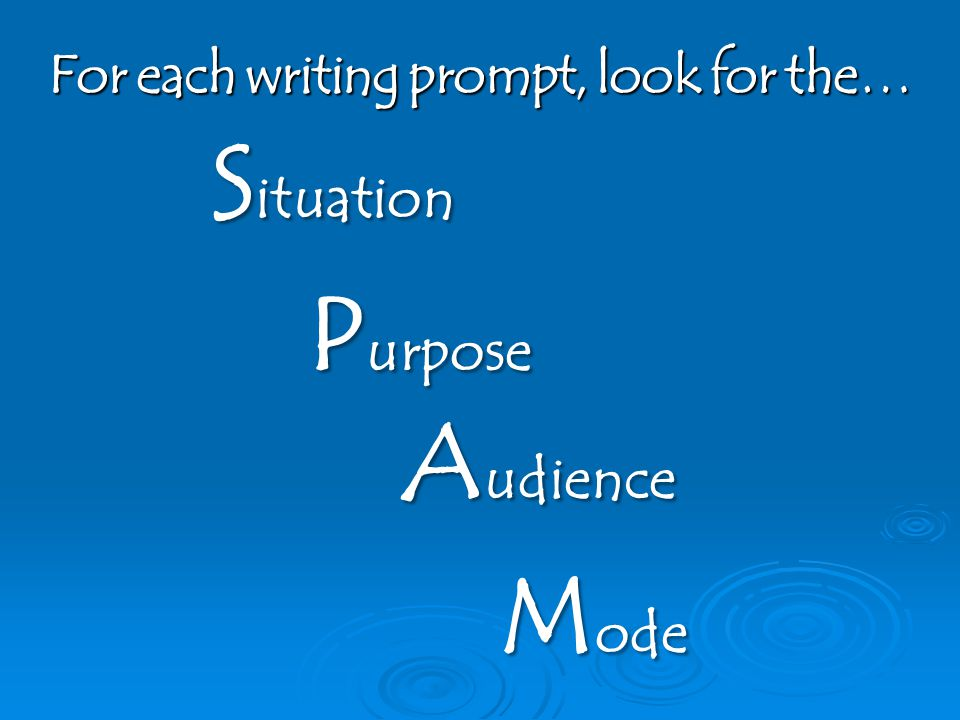 For each writing prompt, look for the…
