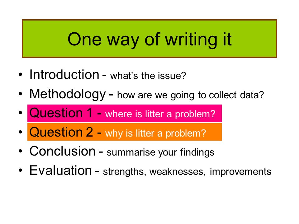 One way of writing it Introduction - what's the issue