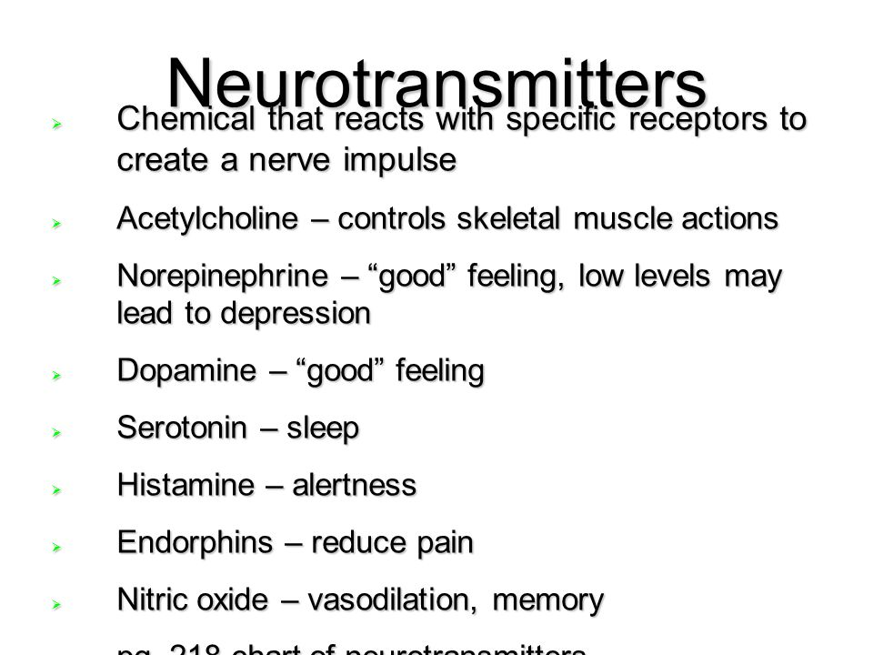Neurotransmitters Chemical that reacts with specific receptors to create a nerve impulse. Acetylcholine – controls skeletal muscle actions.