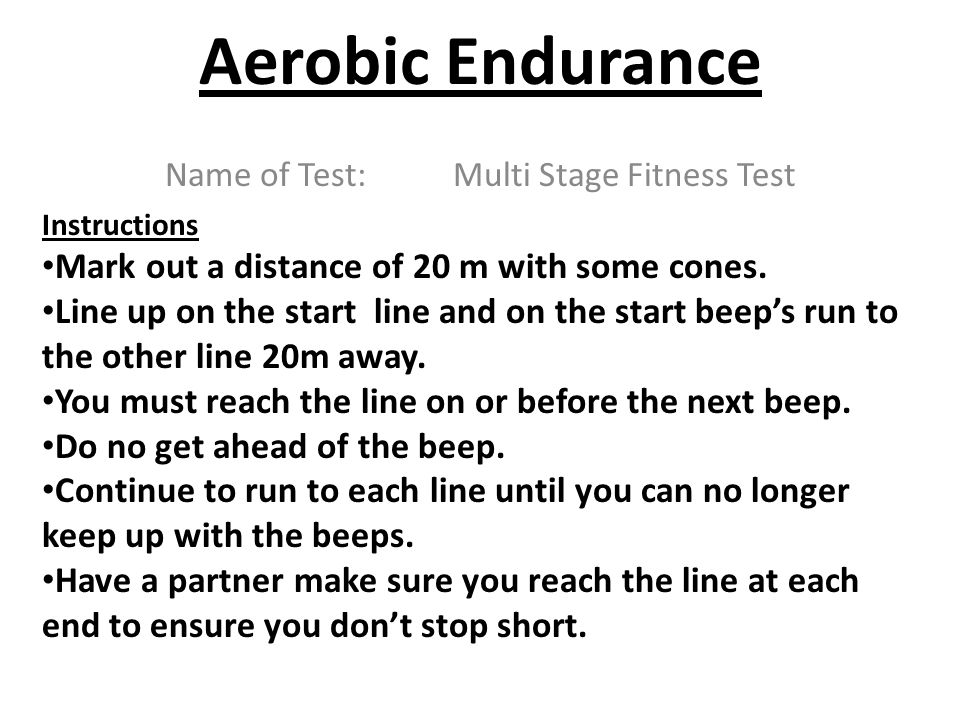 Name of Test: Multi Stage Fitness Test