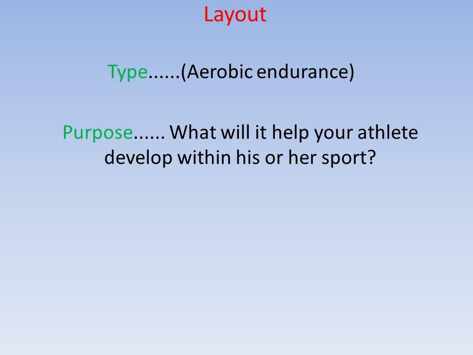Layout Type......(Aerobic endurance) Purpose......