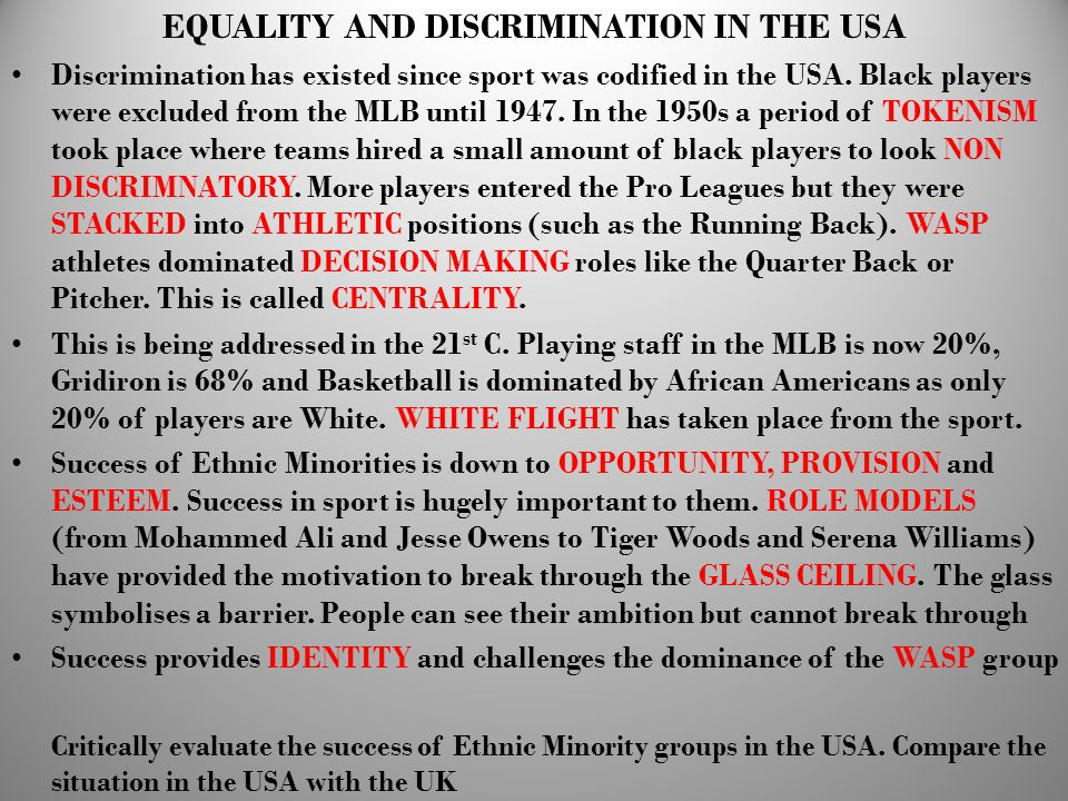 EQUALITY AND DISCRIMINATION IN THE USA