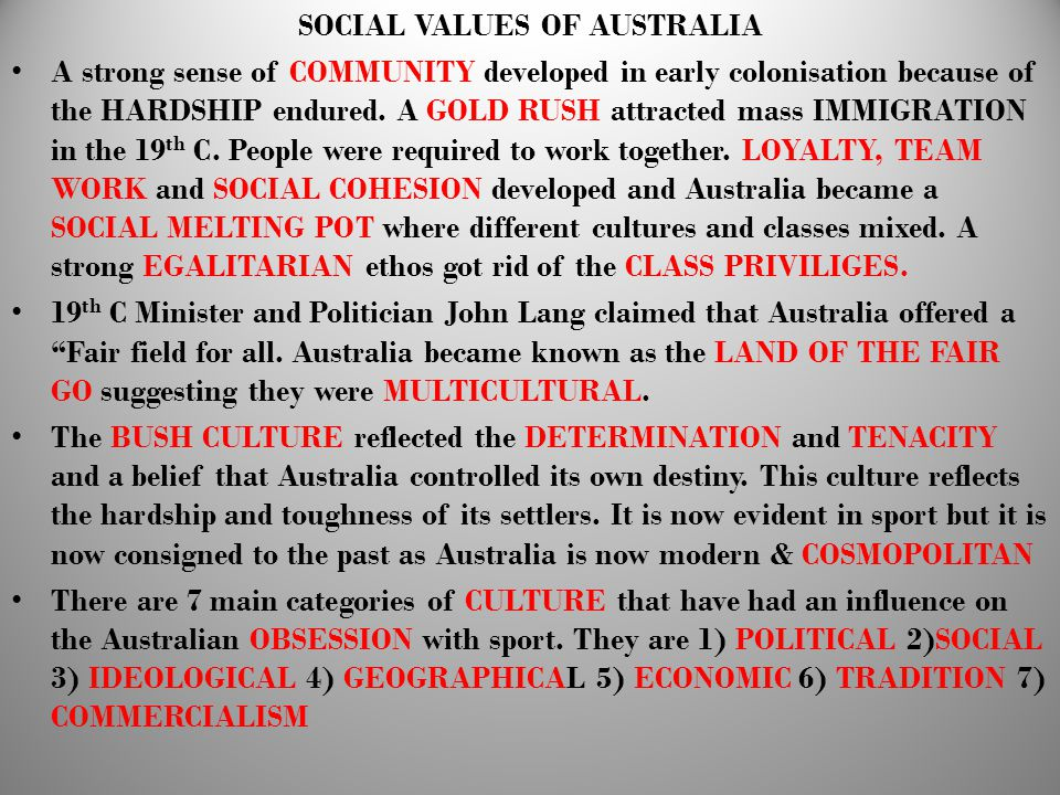 SOCIAL VALUES OF AUSTRALIA