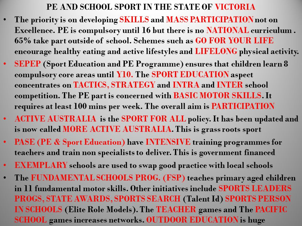 PE AND SCHOOL SPORT IN THE STATE OF VICTORIA