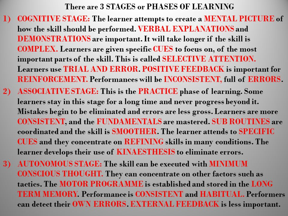 There are 3 STAGES or PHASES OF LEARNING