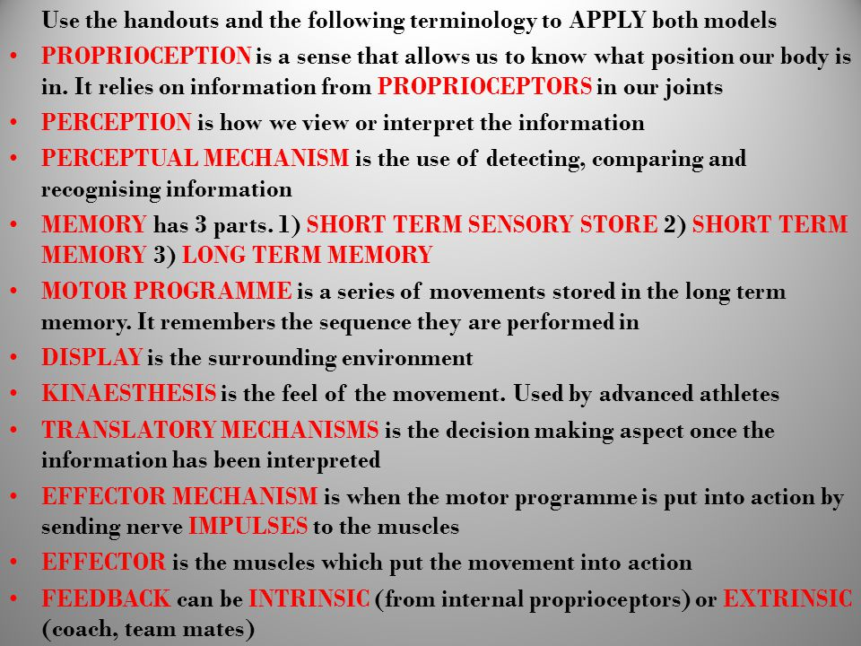 Use the handouts and the following terminology to APPLY both models