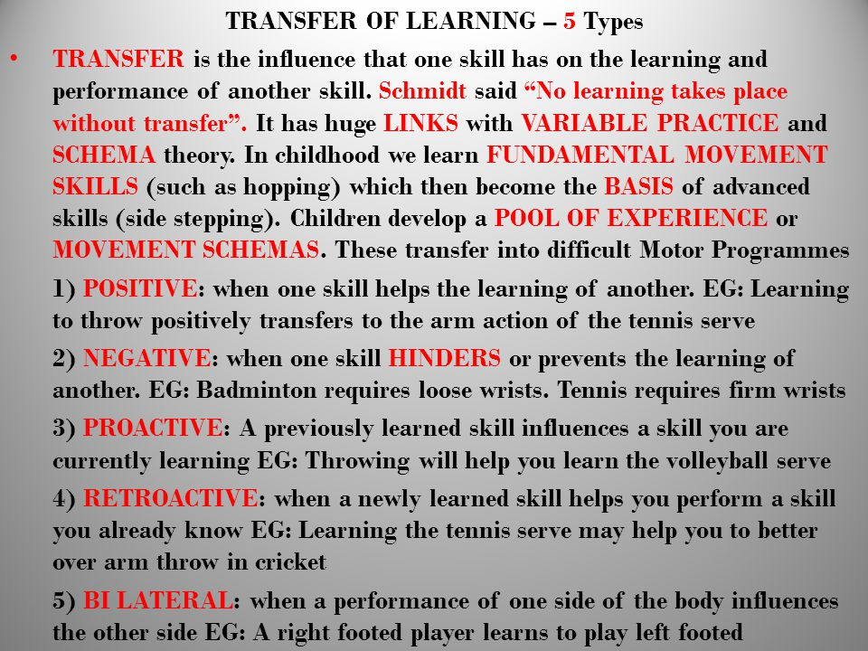 TRANSFER OF LEARNING – 5 Types