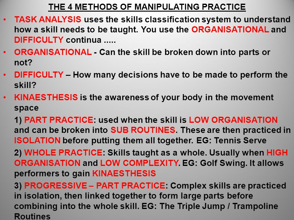 THE 4 METHODS OF MANIPULATING PRACTICE