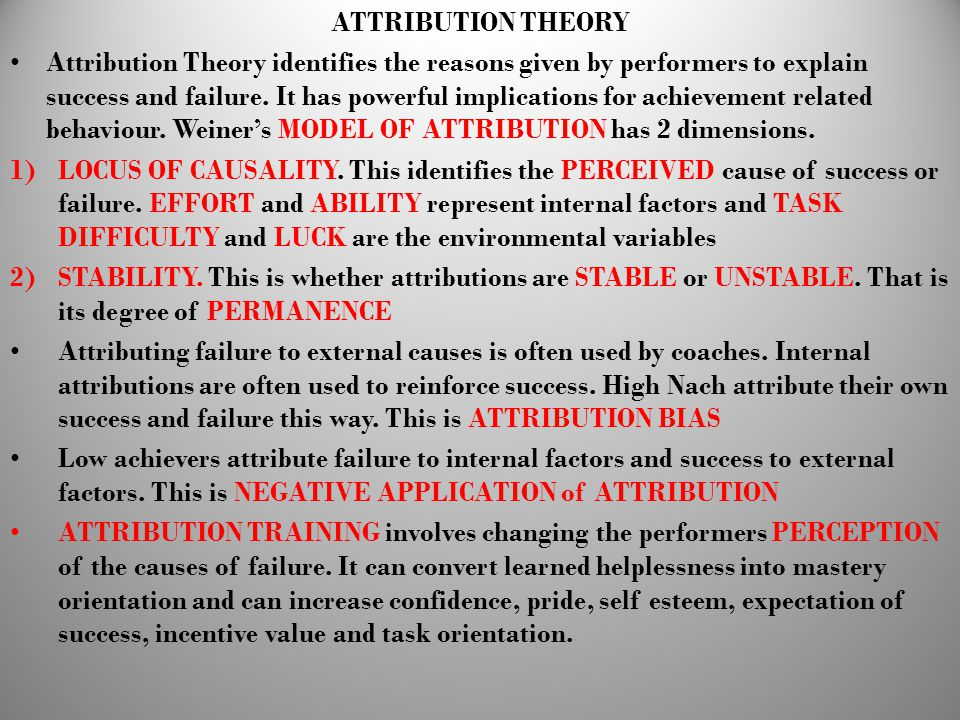 ATTRIBUTION THEORY