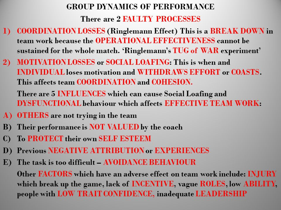 GROUP DYNAMICS OF PERFORMANCE There are 2 FAULTY PROCESSES