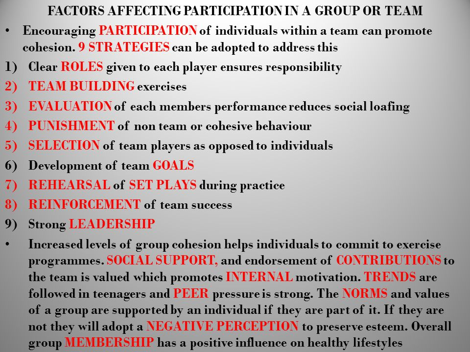 FACTORS AFFECTING PARTICIPATION IN A GROUP OR TEAM