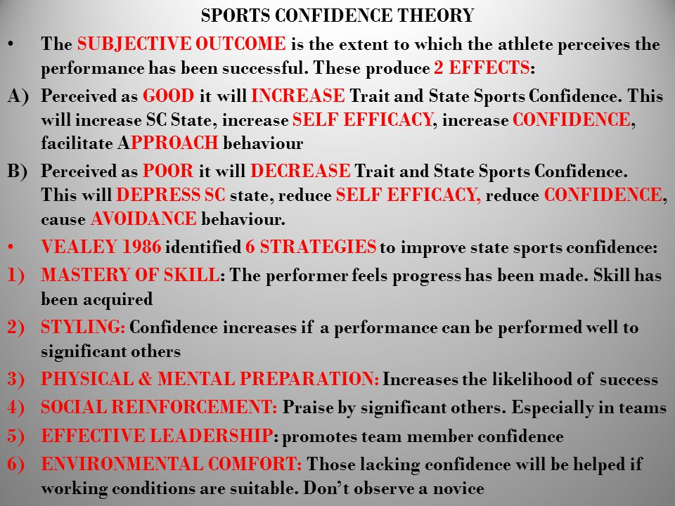 SPORTS CONFIDENCE THEORY
