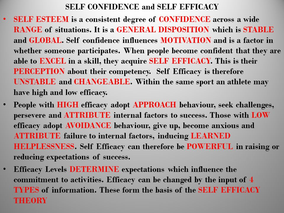 SELF CONFIDENCE and SELF EFFICACY