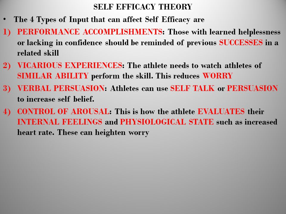 SELF EFFICACY THEORY The 4 Types of Input that can affect Self Efficacy are.