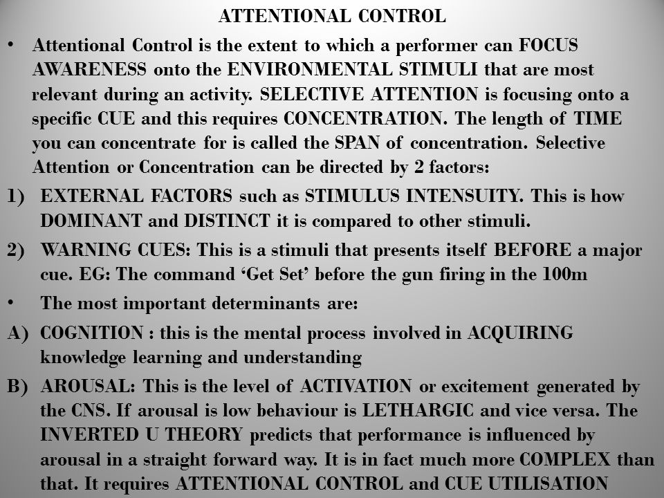 ATTENTIONAL CONTROL
