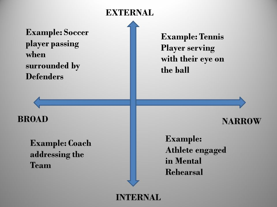 EXTERNAL Example: Soccer player passing when surrounded by Defenders. Example: Tennis Player serving with their eye on the ball.