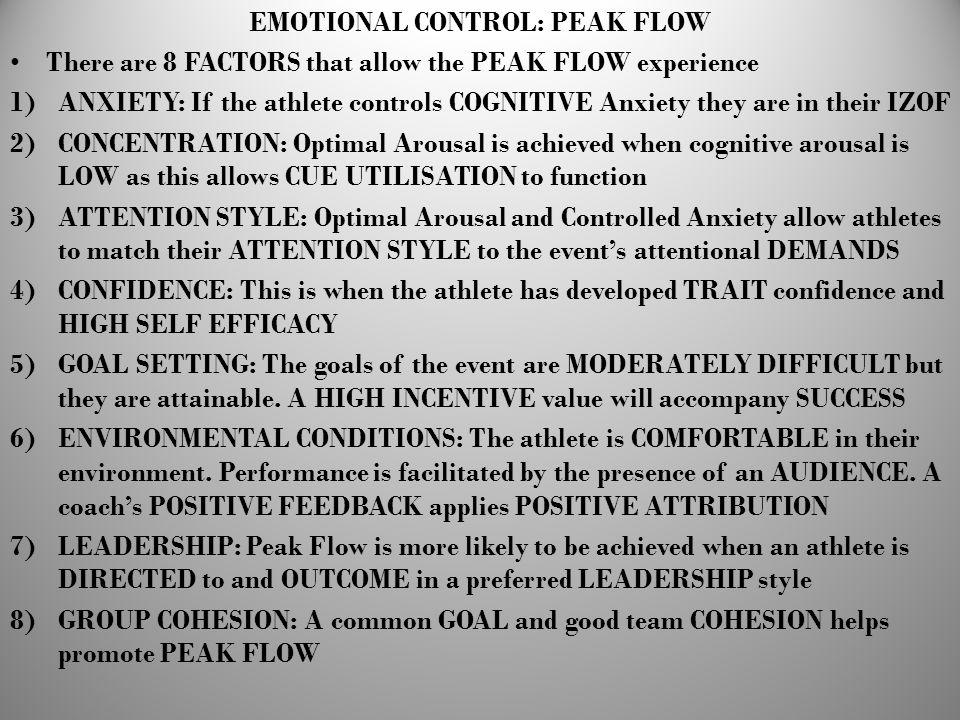 EMOTIONAL CONTROL: PEAK FLOW