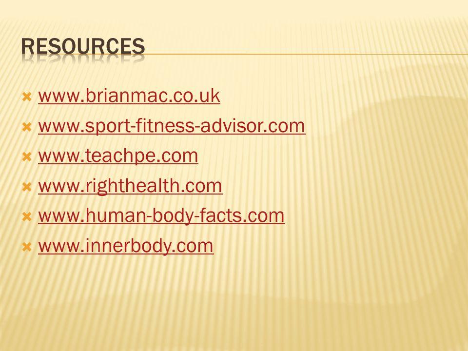 Resources www.brianmac.co.uk www.sport-fitness-advisor.com