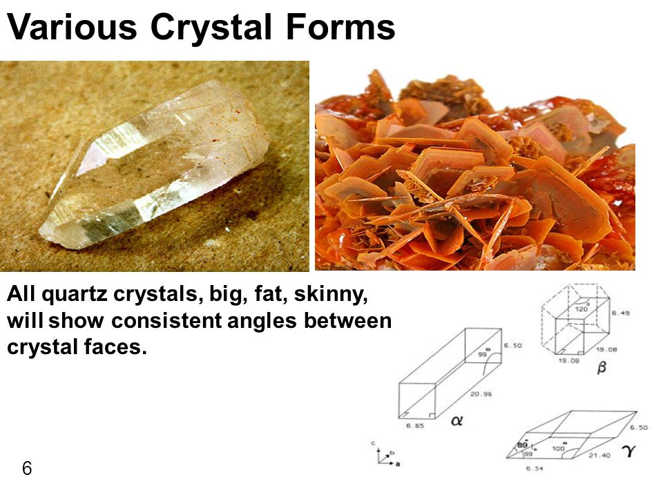 Various Crystal Forms All quartz crystals, big, fat, skinny,