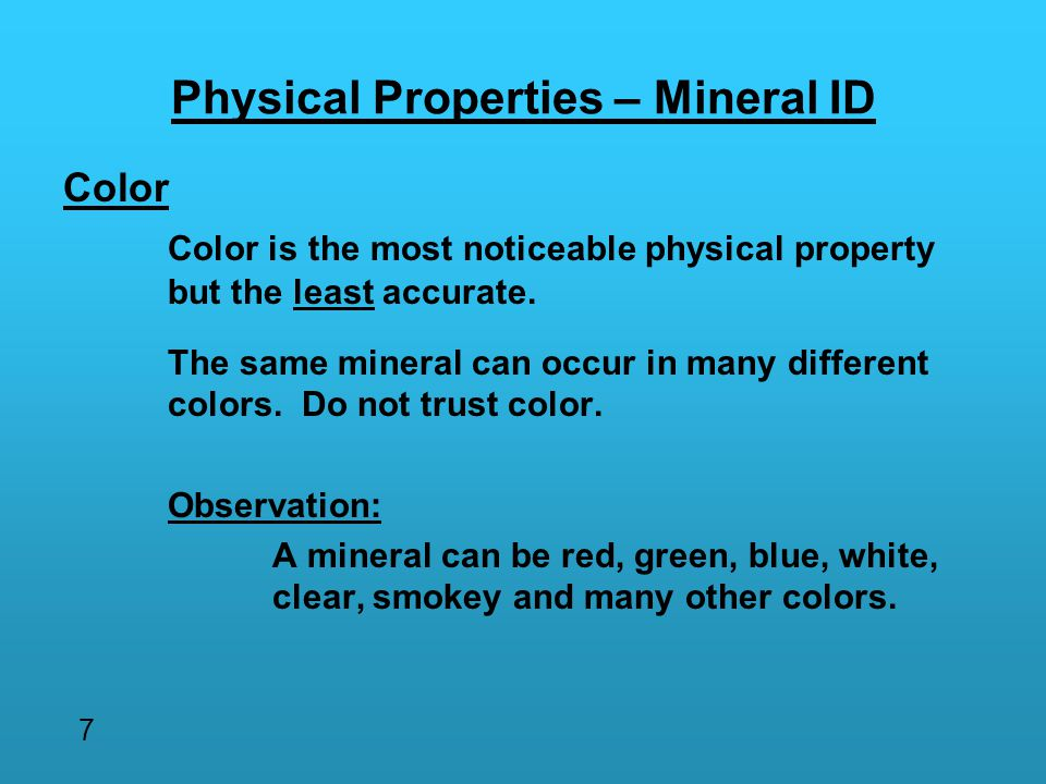 Physical Properties – Mineral ID