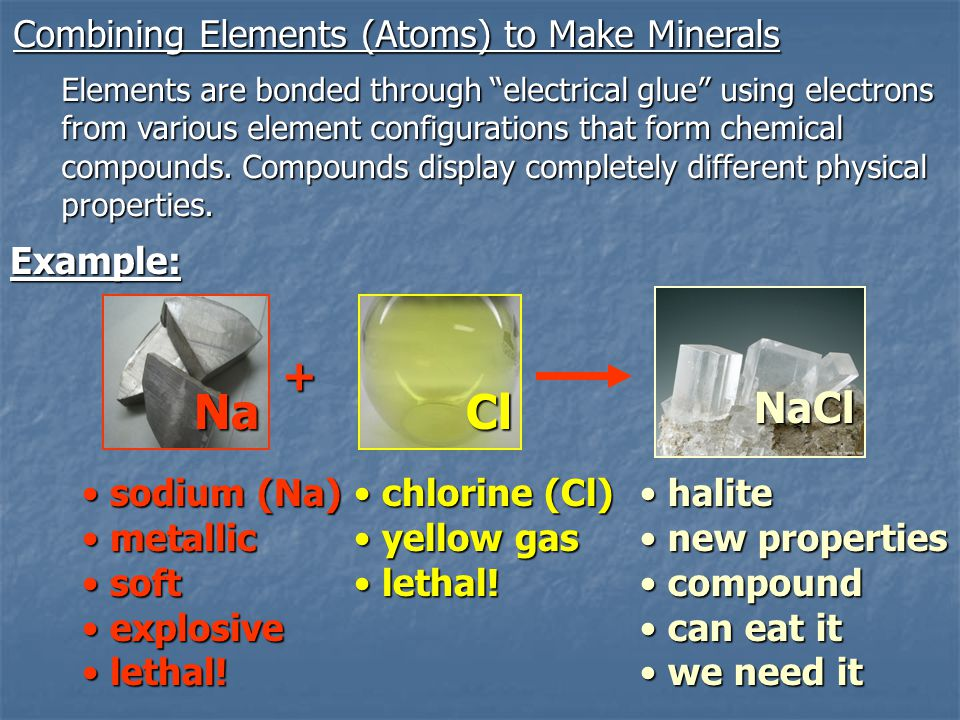 Na Cl + NaCl Combining Elements (Atoms) to Make Minerals Example: