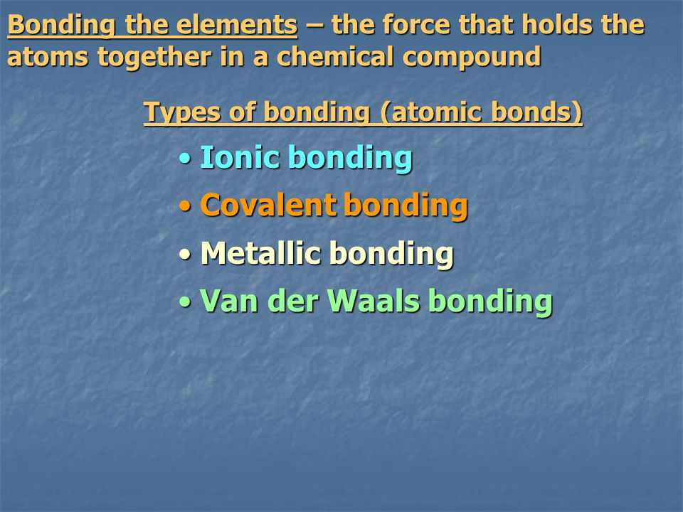 Ionic bonding Covalent bonding Metallic bonding Van der Waals bonding