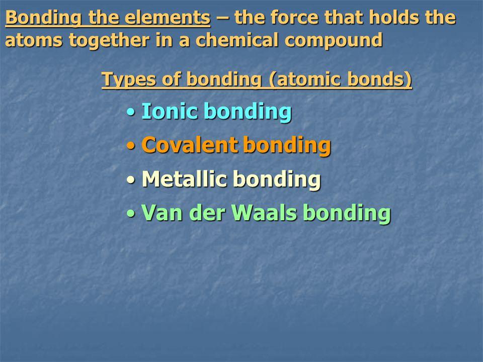 Ionic bonding Covalent bonding Metallic bonding Van der Waals bonding