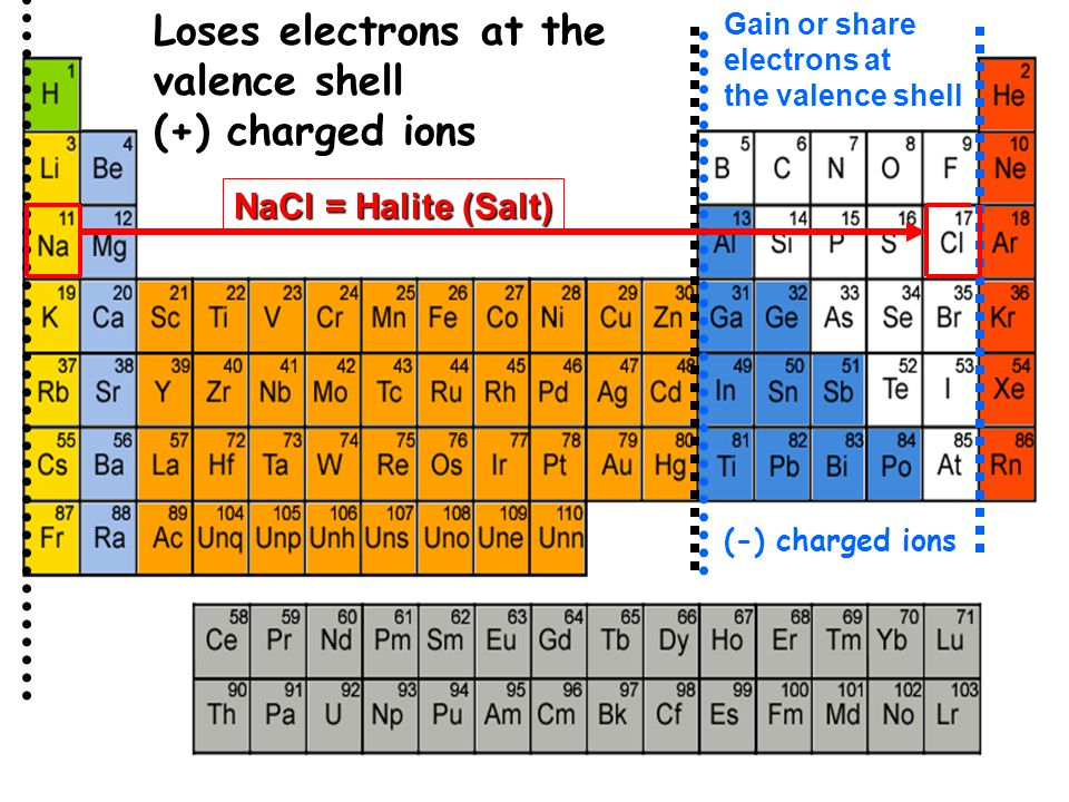 Loses electrons at the valence shell (+) charged ions