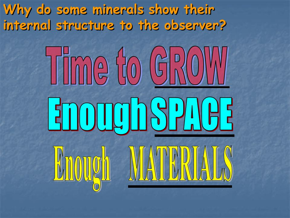 Time to GROW Enough SPACE Enough MATERIALS
