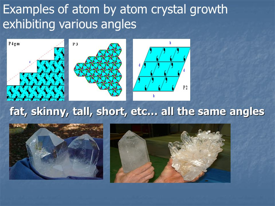Examples of atom by atom crystal growth exhibiting various angles