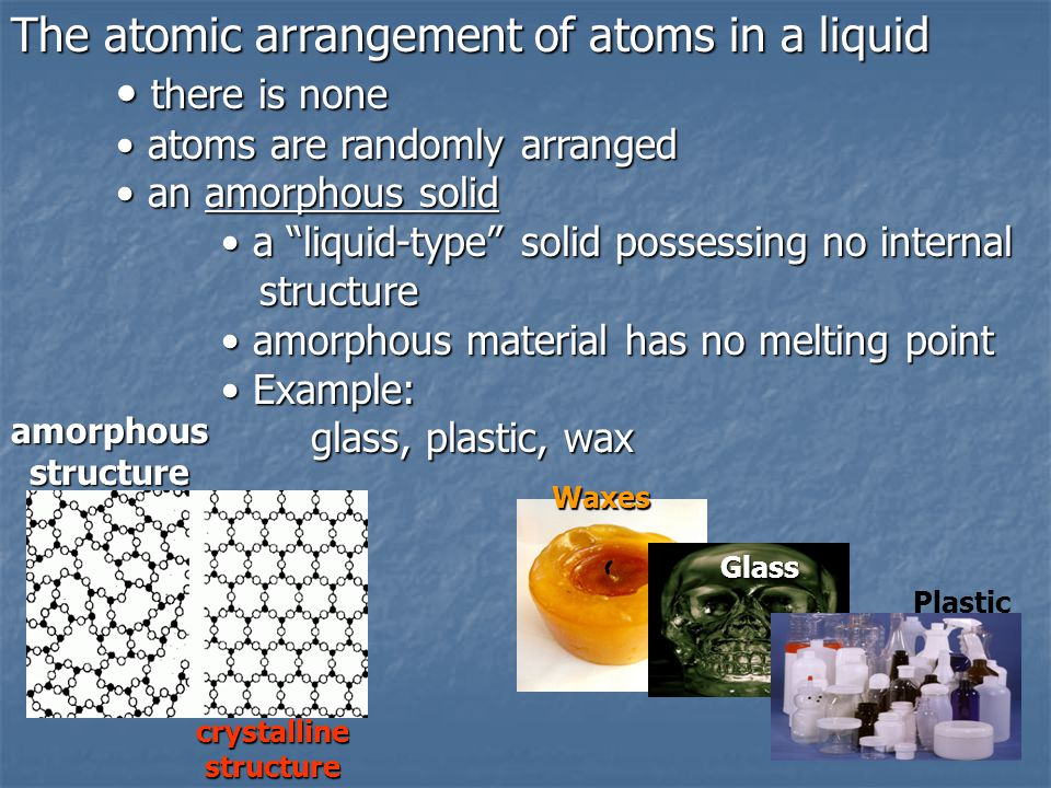 The atomic arrangement of atoms in a liquid there is none