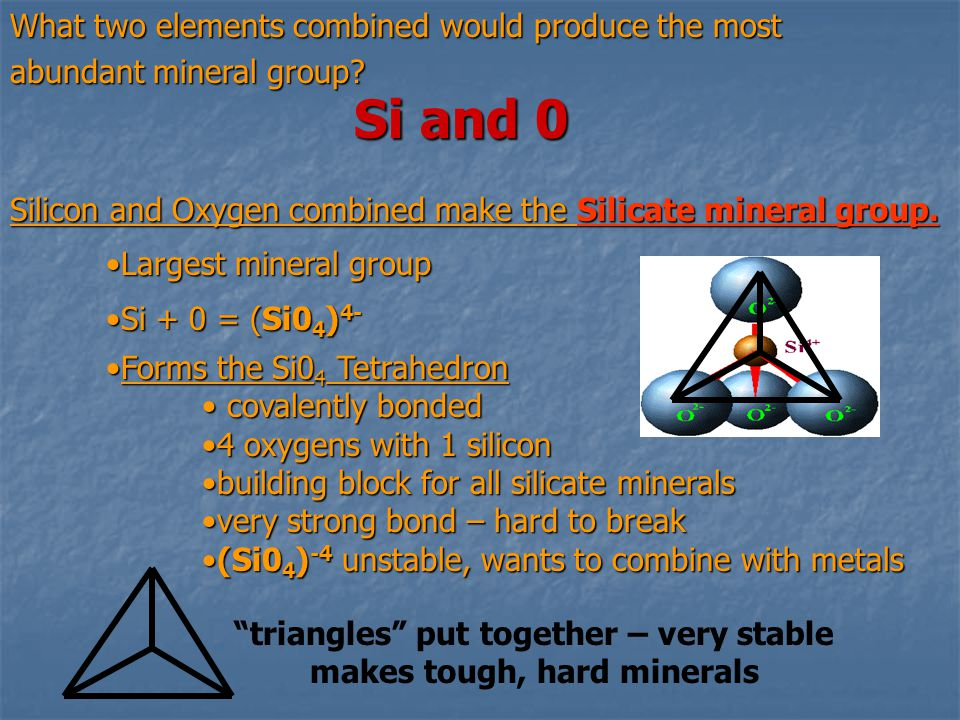 triangles put together – very stable makes tough, hard minerals