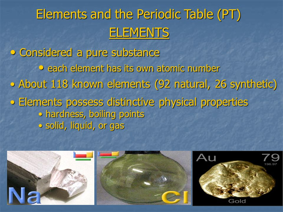 Elements and the Periodic Table (PT) ELEMENTS