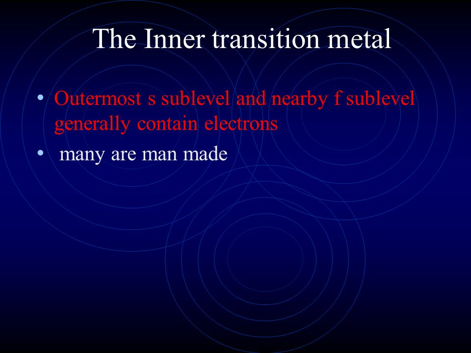 The Inner transition metal