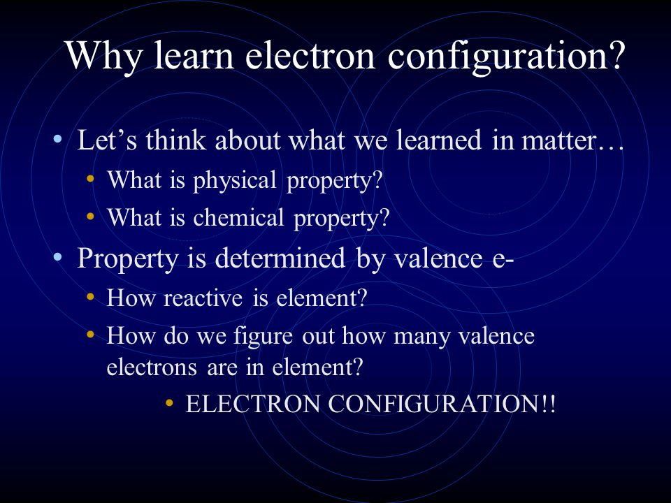 Why learn electron configuration