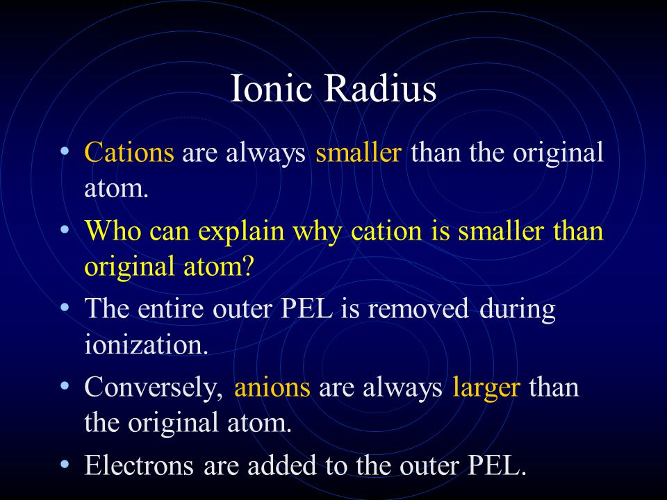 Ionic Radius Cations are always smaller than the original atom.