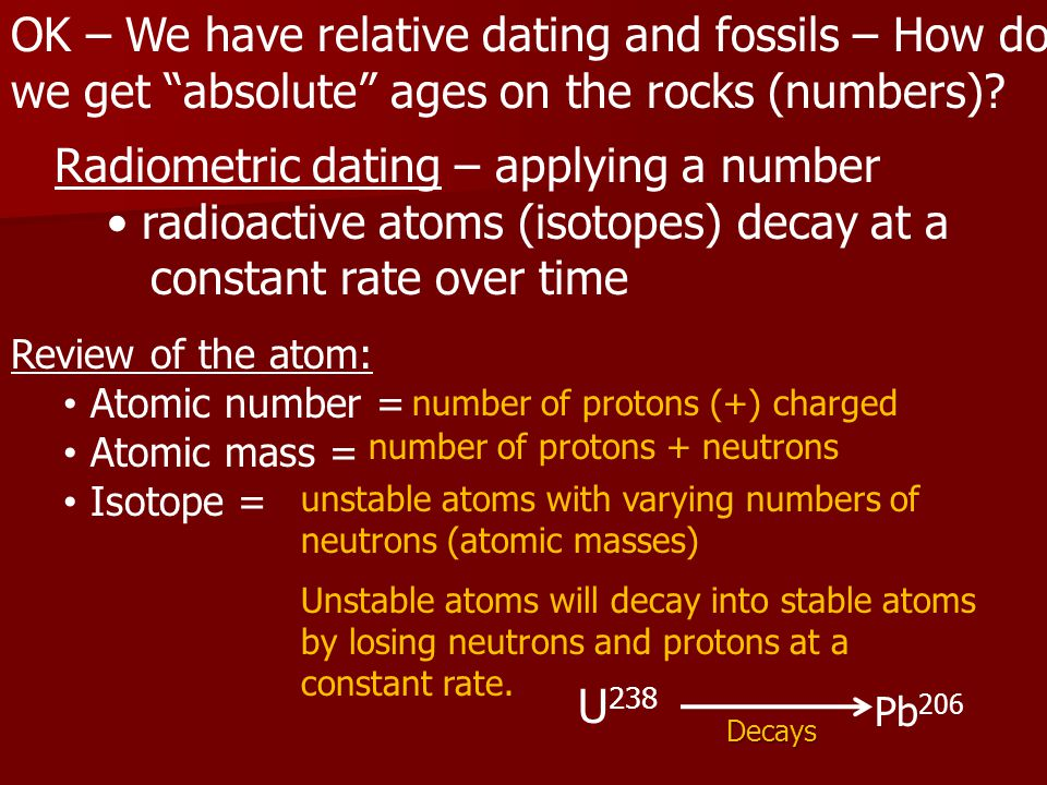OK – We have relative dating and fossils – How do