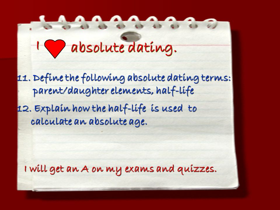 I absolute dating. 11. Define the following absolute dating terms: