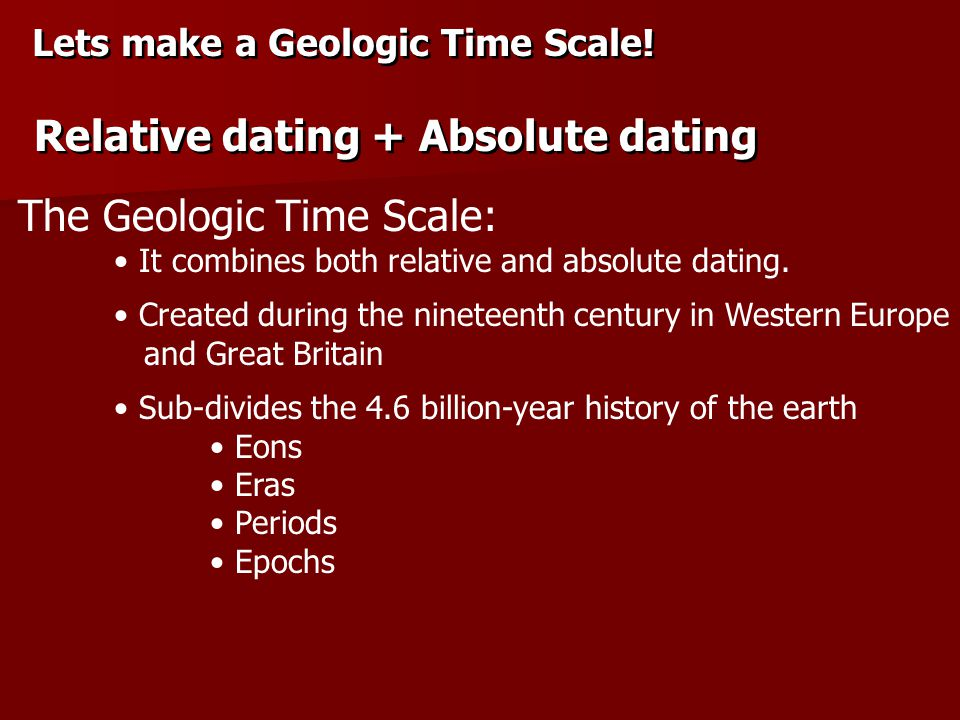 Relative dating + Absolute dating