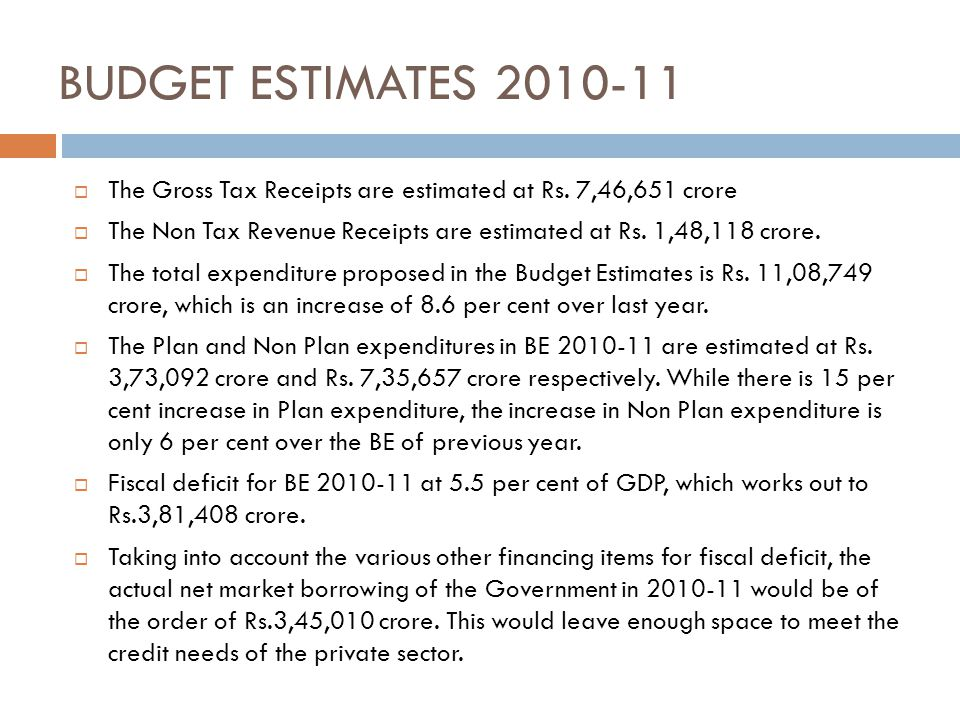 BUDGET ESTIMATES 2010-11 The Gross Tax Receipts are estimated at Rs. 7,46,651 crore.
