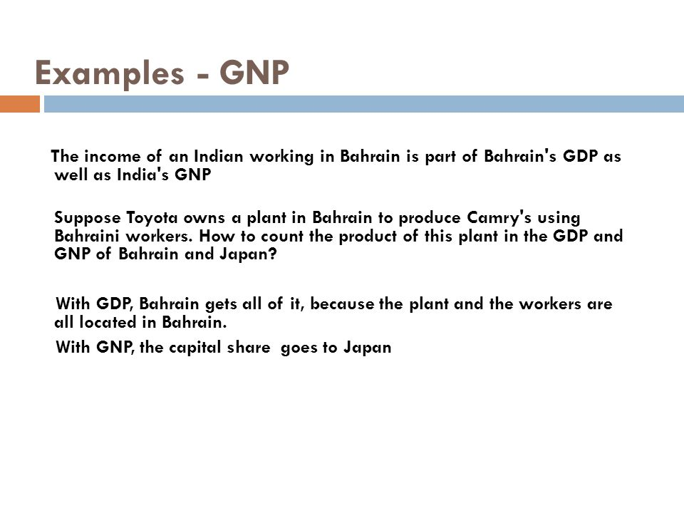 Examples - GNP