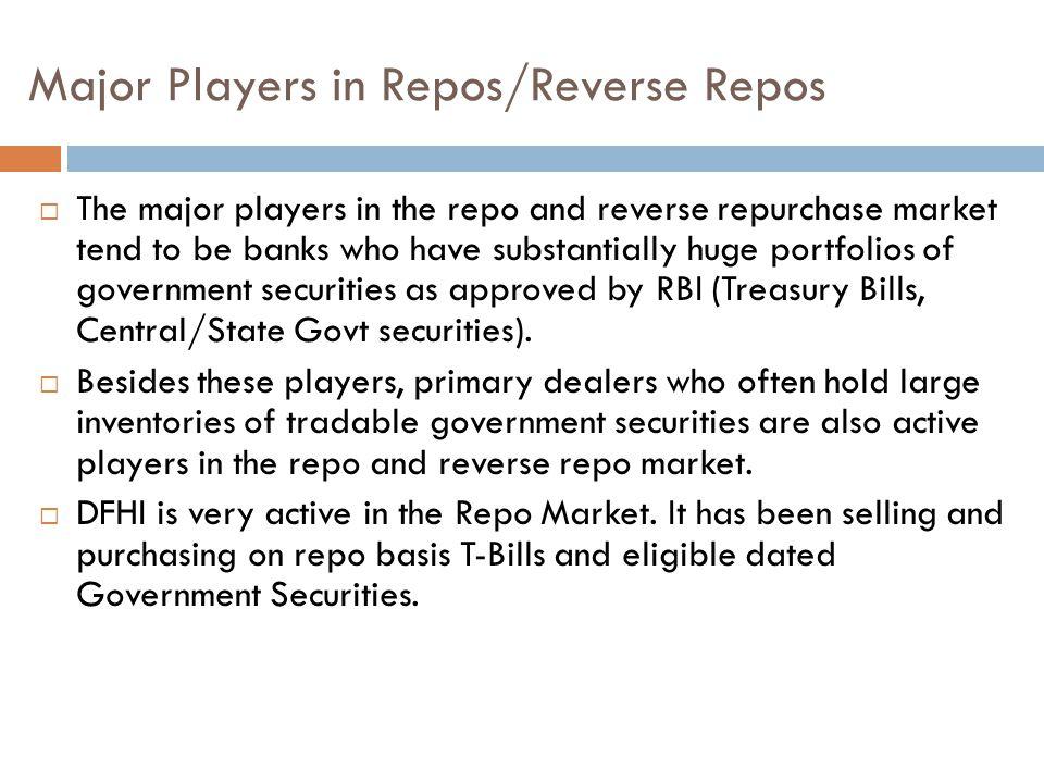 Major Players in Repos/Reverse Repos