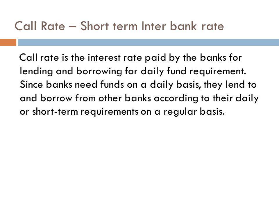 Call Rate – Short term Inter bank rate