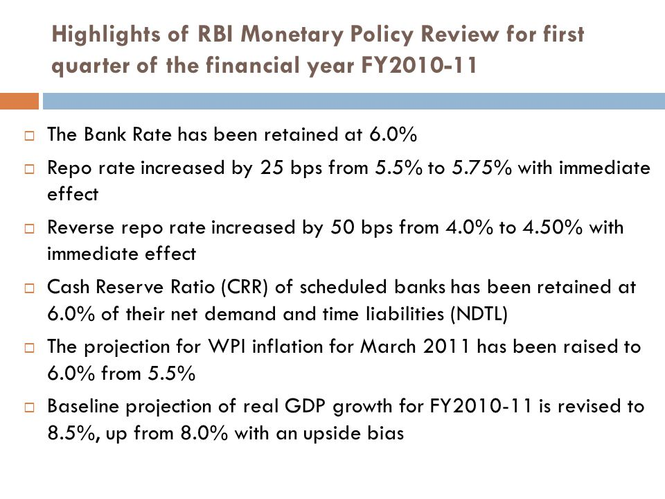 Highlights of RBI Monetary Policy Review for first quarter of the financial year FY2010-11