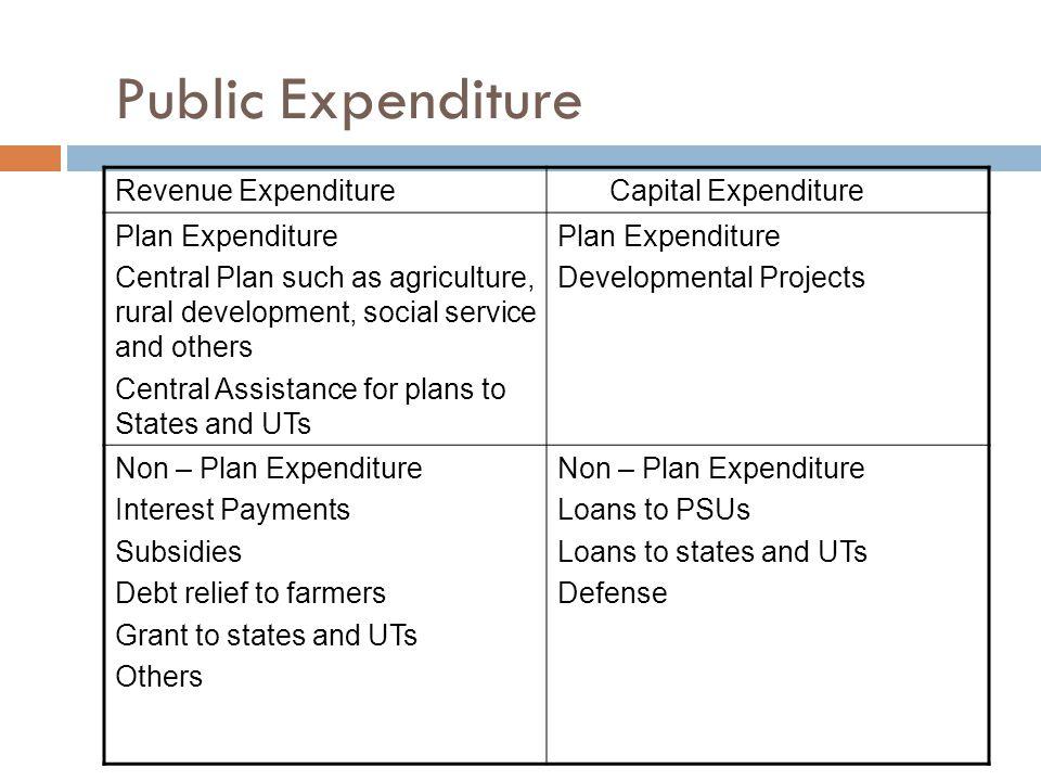 Public Expenditure Revenue Expenditure Capital Expenditure
