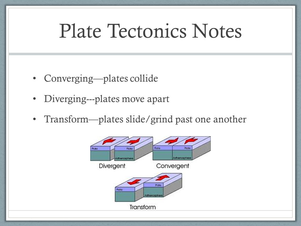 Plate Tectonics Notes Converging—plates collide