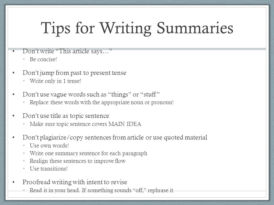 Tips for Writing Summaries