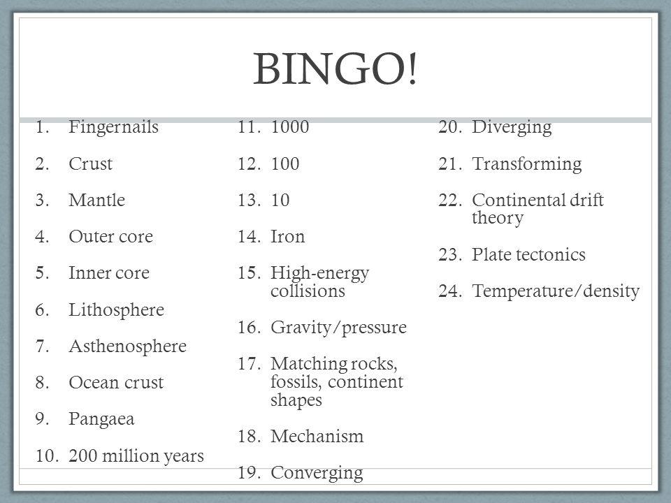 BINGO! Fingernails 1000 Diverging Crust 100 Transforming Mantle 10