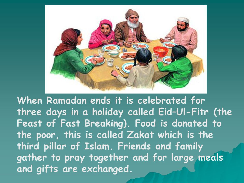 When Ramadan ends it is celebrated for three days in a holiday called Eid–Ul-Fitr (the Feast of Fast Breaking).